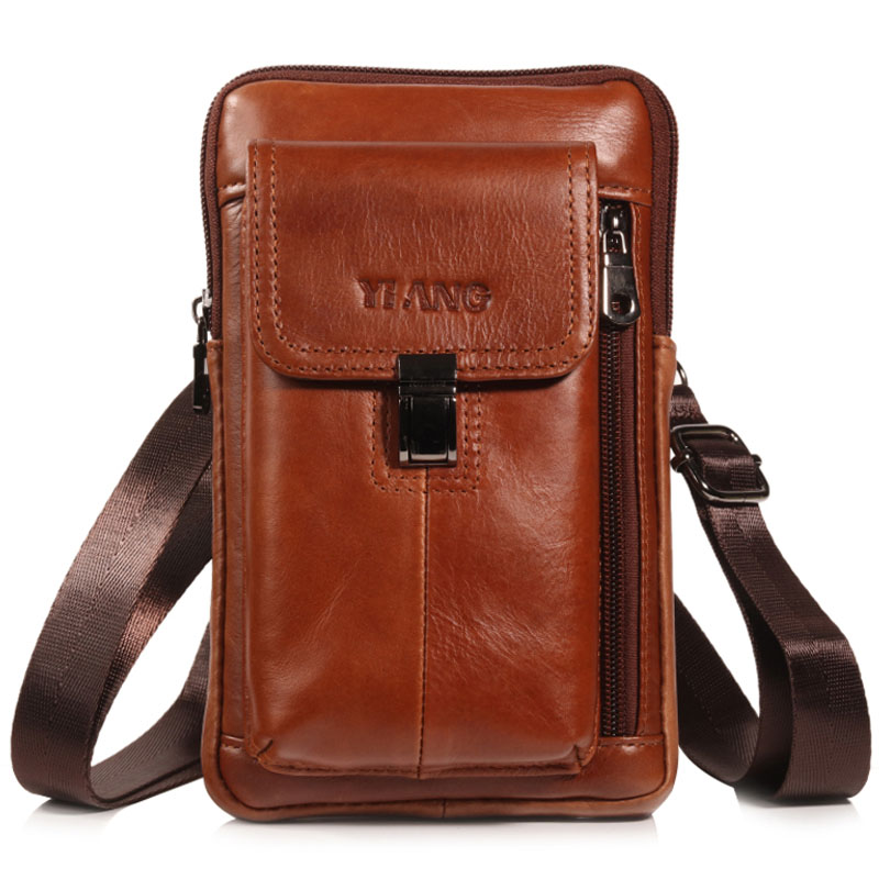New Men Crossbody Waist Bag  Fashion Genuine Leather For Men Cell/Mobile Phone Bag  Male Shoulder Bag Hook Belt  Fanny Pack