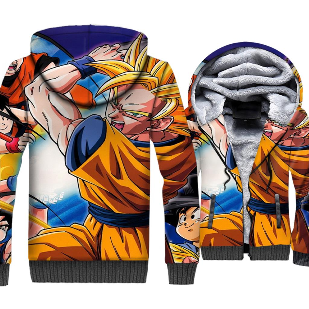 2018 Japanese Anime men thick sweatshirts Dragon Ball super Saiyan jackets coats wool liner hooded 3D Print plus size tracksuits
