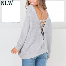 NLW Deep V Neck Lace Up Knitted Women Sweaters Gray Hollow Out 2018 Autumn Casual Sweaters And Pullovers Jumpers Knitwear(China)