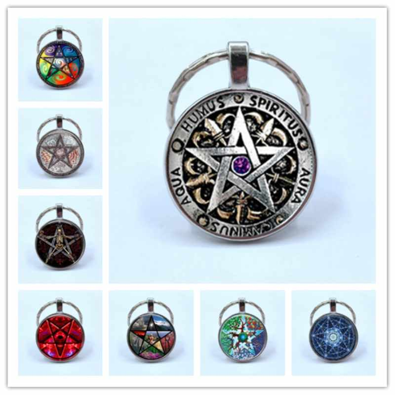 2019/Steam Punk Fashion Wiccan Keychain Black Magic Pagan Pentagram Pendant Double Side Glass Dome Gift