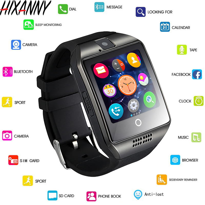 Bluetooth Smart Watch Men Q18 With Touch Screen Big Battery Support TF Sim Card Camera for Android Phone Smartwatch Reloj Men 4G-in Smart Watches from Consumer Electronics