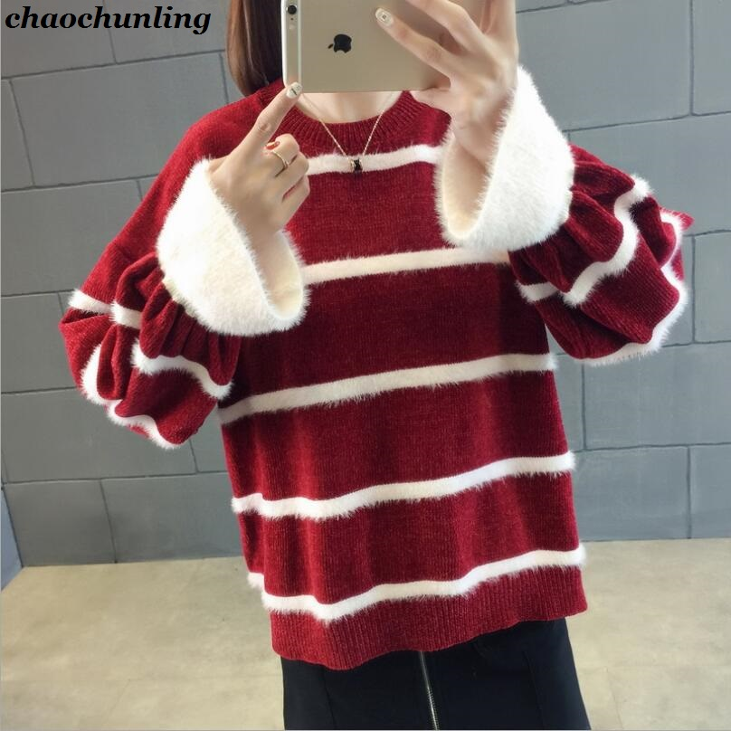 Europe and America 2018 New Lady O-Neck Pullovers Long Sleeve Knit Mixed Color Sweater Women Striped Stitching Sweaters