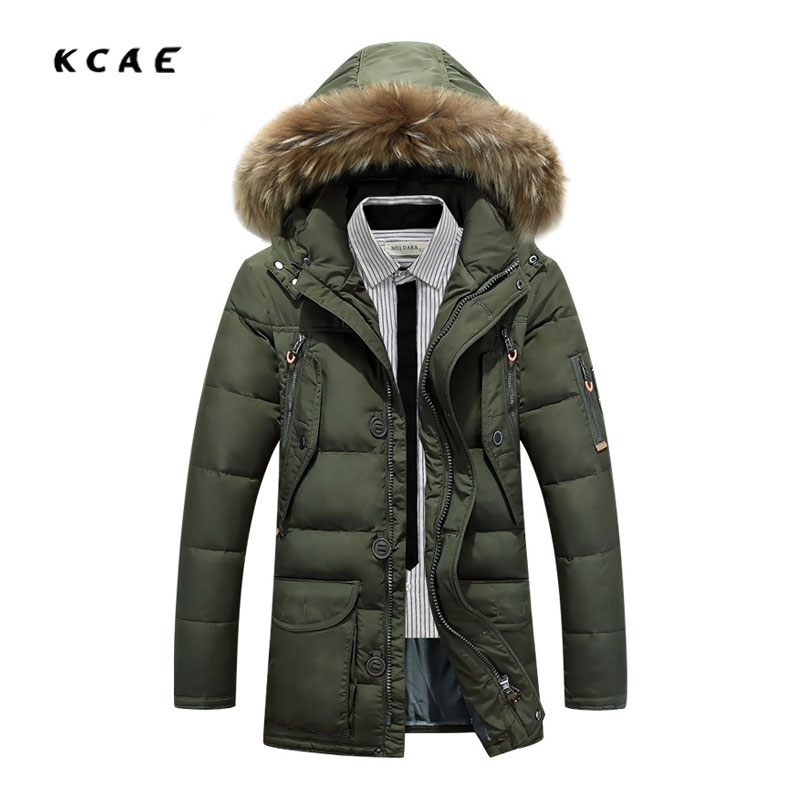 Winter new Men's jackets in the Long hooded thicker Casual Removable Large Fur collar Cotton clothing Winter clothes Winter warm sky blue cloud removable hat in the long section of cotton clothing 2017 winter new woman