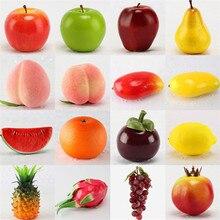 1 шт. креативные искусственные фрукты PU искусственное яблоко груша оранжевый поддельные декоративные фрукты милый обеденный стол украшения