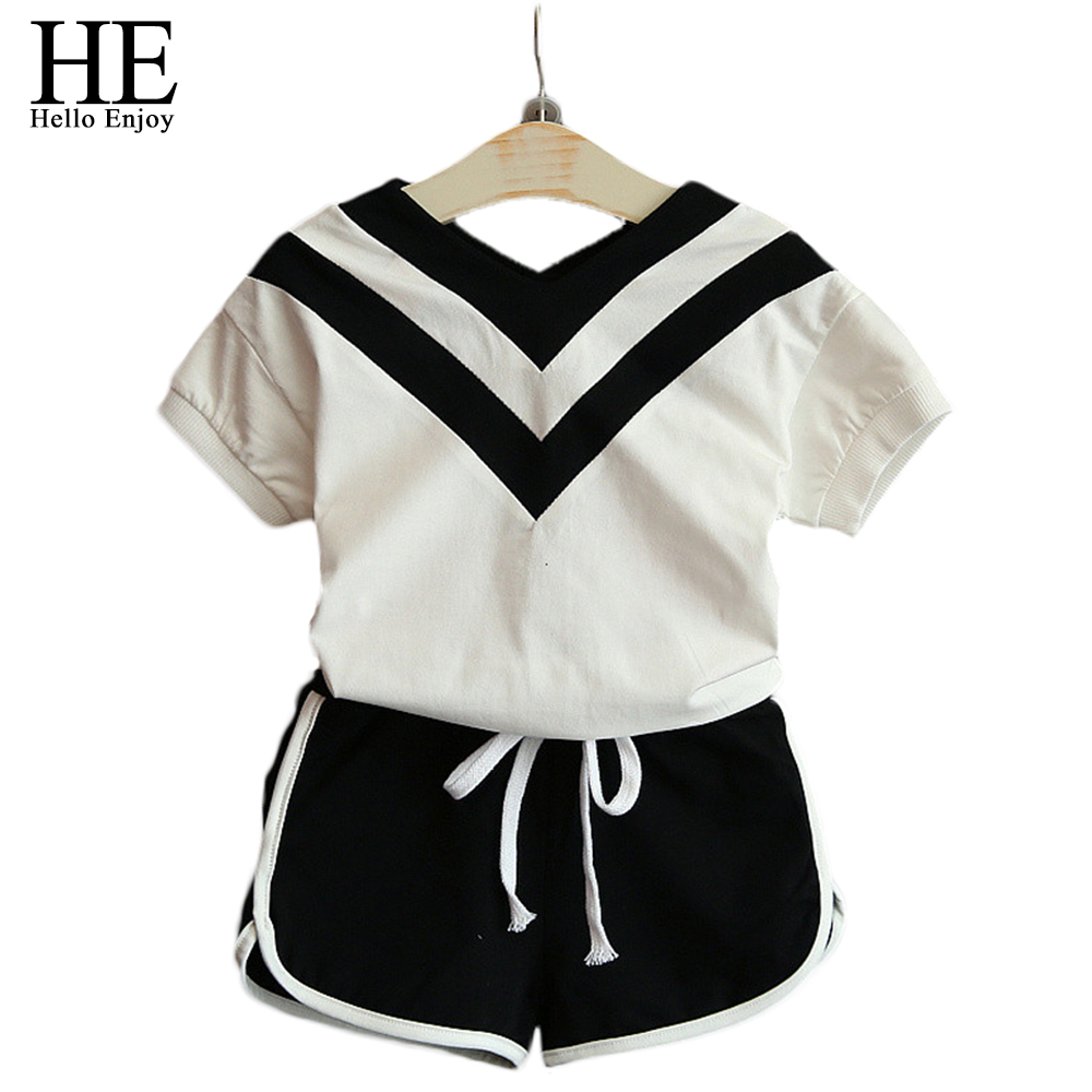 toddler girls summer clothes children clothing tracksuits for girls 2018 cottons casual kids T-shirt+shorts sport suits costume