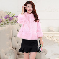Faux Fur Coat Women Black Pink Gray Red XS 3XL Plus Size Short Slim 2019 Autumn Winter Korean Fashion Thick Warmth Jacket LD1086