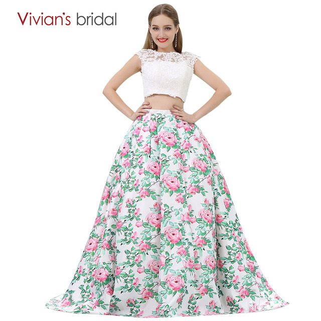 Floral Print A Line Evening Dress Long Cap Sleeve Two Piece Prom Dress Lace  Satin Evening