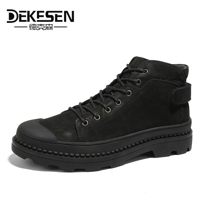 DEKESEN 2018 New Genuine Leather Men Boots Fashion Warm Cotton Brand Ankle boots Shoes men for Winter shoes botas hombre big 46 new fashion men luxury brand casual shoes men non slip breathable genuine leather casual shoes ankle boots zapatos hombre 3s88