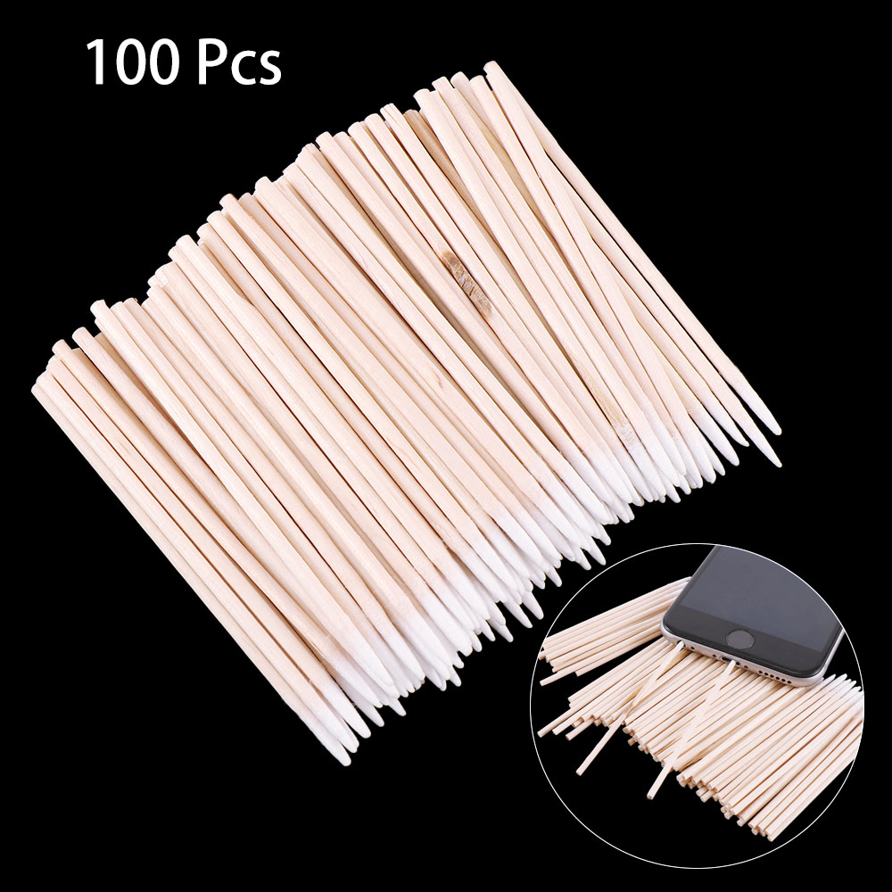 100 Pcs/pack Cotton Sticks Mobile Phone Charge Port Jack Earphone Hole Dust Removal Cleaning Tools Disposable Cotton Swab