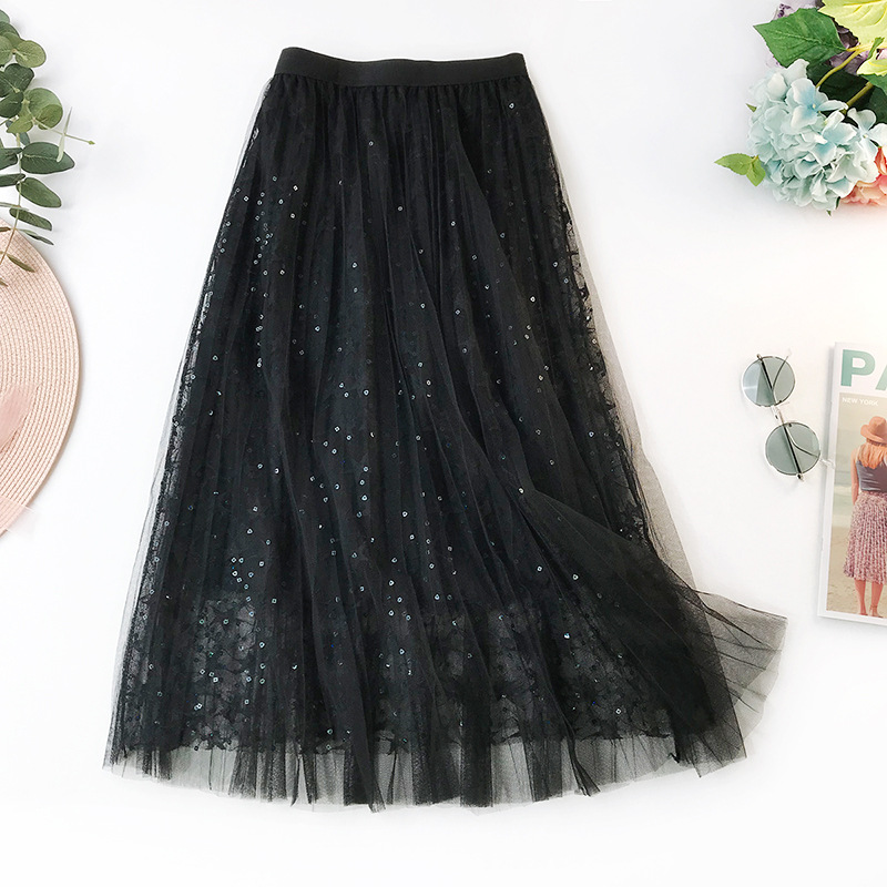 Wasteheart Spring New Pink Black Gray Women Skirts Mesh High Waist A-Line Mid-Calf Sexy Long Skirts Clothing Embroidery Sequins