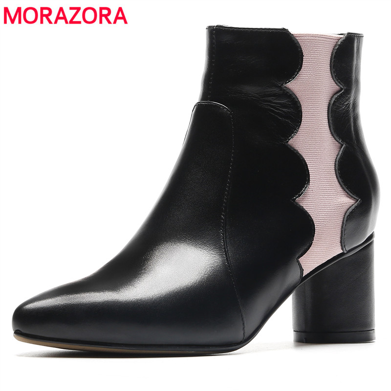 MORAZORA 2018 new arrival ankle boots for women pointed toe genuine leather boots mixed colors high heels autumn winter shoes fred perry fred perry m8205 420