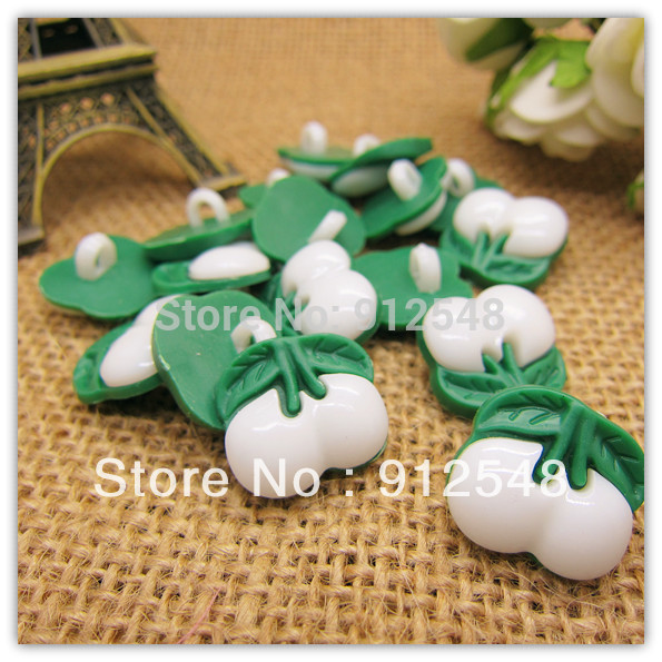 16mm 100pcs white Cherry plastic buttons flower buttons for children garment ,yt006