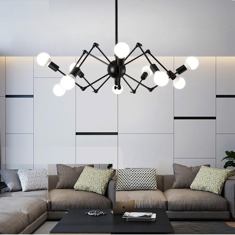 Mordern Nordic ретро люстра Винтаж чердак античный регулируемый DIY E27 искусство паук потолочный светильник