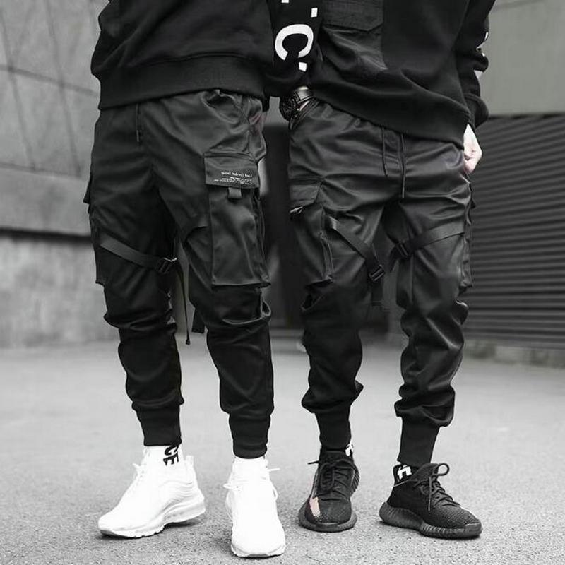 Pant Men Jogger Casual Trousers Harem Streetwear Elastic Hip-Hop Punk Dancing Black Multi-Pocket