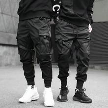 Г. Хип-хоп мужские шаровары с несколькими карманами и эластичной резинкой на талии, уличная одежда для мужчин, повседневные штаны в стиле панк мужские штаны для бега, для танцев, черные штаны