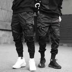 2019 Hip Hop Boy Multi-Bolsillo cintura elástica diseño Harem Pantalones Hombre Streetwear Punk Casual pantalones Jogger hombre baile pantalón negro