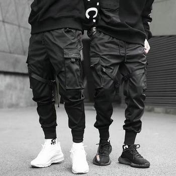 2019 Hip Hop chłopiec z wieloma kieszeniami elastyczny pas w talii spodnie haremki mężczyźni Streetwear Punk spodnie typu casual Jogger męskie taniec czarne spodnie tanie i dobre opinie VOLGINS Ołówek spodnie Mieszkanie Poliester COTTON Kieszenie REGULAR Pełnej długości Na co dzień Midweight Suknem