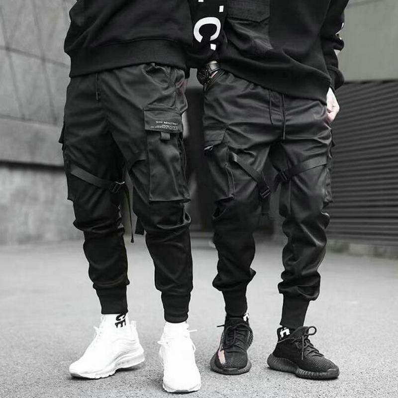 2020 Hip Hop Boy Multi-pocket Elastic Waist Design Harem Pant Men Streetwear Punk Casual Trousers Jogger Male Dancing Black Pant