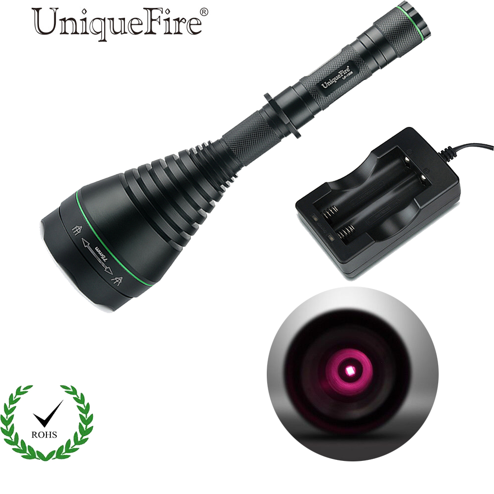 UniqueFire 1508 IR 850NM 75mm Convex Lens LED Flashlight Torch Infrared Light Night Vision Lantern+Two Slot Charger hot sale uniquefire t20 ir 850nm mini led flashlight fit for ir device 38mm lens torch lantern charger