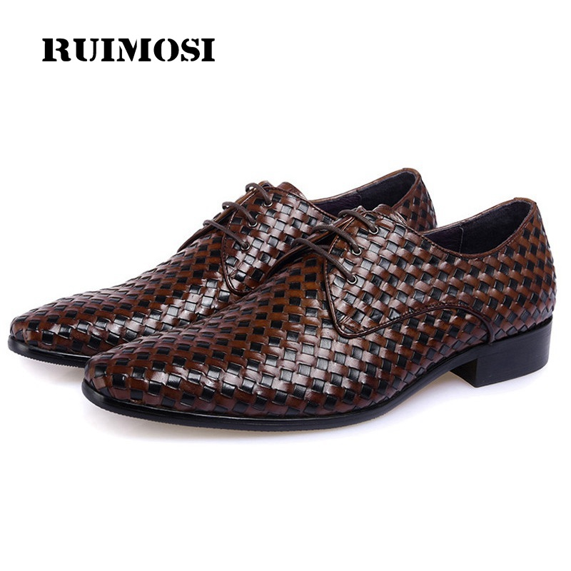 RUIMOSI Luxury Pointed Toe Handmade Man Formal Dress Shoes Genuine Leather Male Wedding Oxfords Italian Men's Bridal Flats MG39