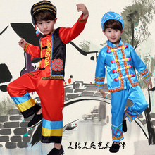 Chinese Childrens minority costumes, boys cosplay costume Miao clothes, Zhuang Dai  dance clothing stage performance
