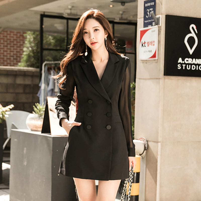 Solid Women Bodycon Bandage Dress 2019 Spring Plus Size Black Long Sleeve Notched Suit Office Short Dress Blazer Dress Vestidos High Quality Goods Dresses