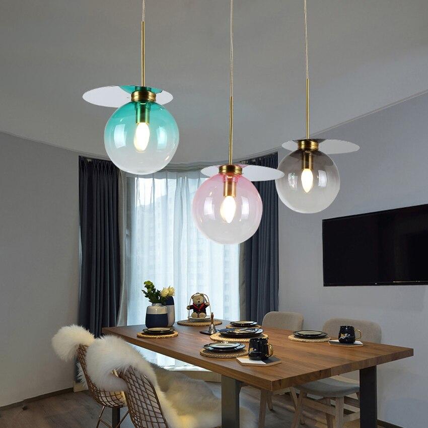 Nordic Loft Decor Light Pendant Lamp New Colorful Glass Ball Hanging Lamp Living Room Restaurant Bar