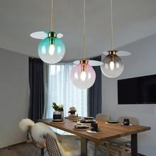 купить Nordic Loft Decor Light Pendant Lamp New Colorful Glass Ball Hanging Lamp Living Room Restaurant Bar Kitchen Fixtures Luminaire дешево
