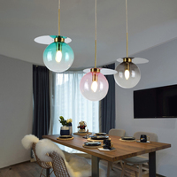 Nordic Loft Decor Light Pendant Lamp New Colorful Glass Ball Hanging Lamp Living Room Restaurant Bar Kitchen Fixtures Luminaire