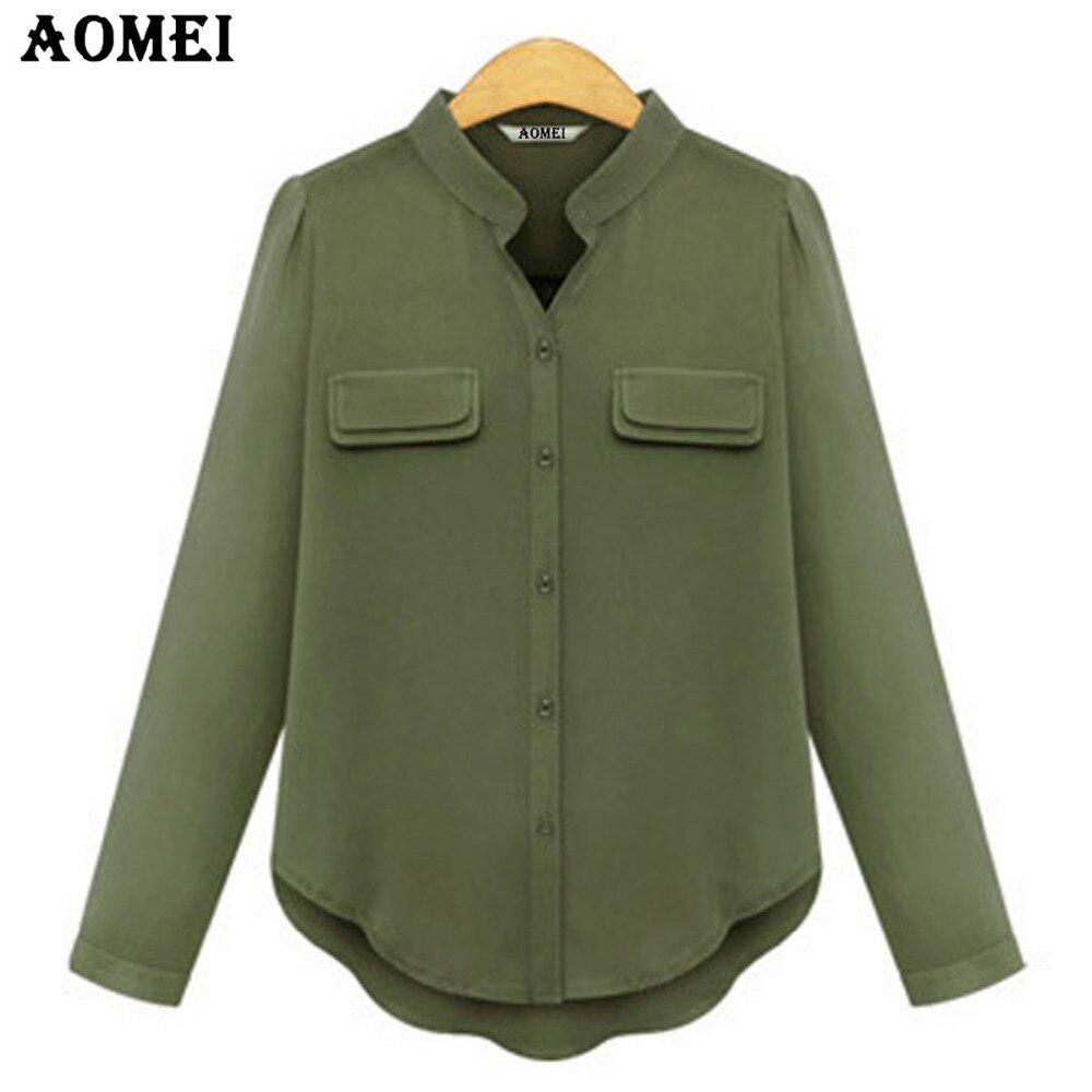 new product 57992 763b6 Donne Chiffon Esercito Camicia Verde A Maniche Lunghe Moda ...