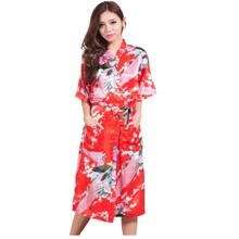 High Fashion Red Chinese Bride Wedding Robe Gown Women Silk Rayon Nightwear Sexy Kimono Bath Gown Size S M L XL XXL XXXL Z009(China)