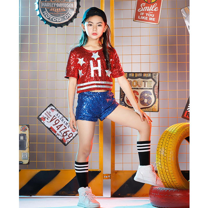 Girls Children Hip-hop Dance Costumes Sets Children's Day Jazz/Street Dance Red Sequined Letter Clothes Halloween Party Clothing