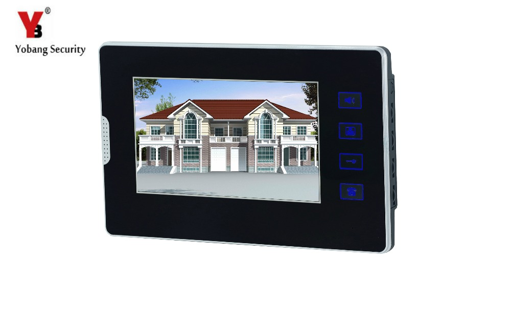 YobangSecurity Black 7 Inch Color TFT LCD Screen Monitor Doorbell Intercom Entry System Unlock Night Vision Monitor 7 inch video doorbell tft lcd hd screen wired video doorphone for villa one monitor with one metal outdoor unit night vision