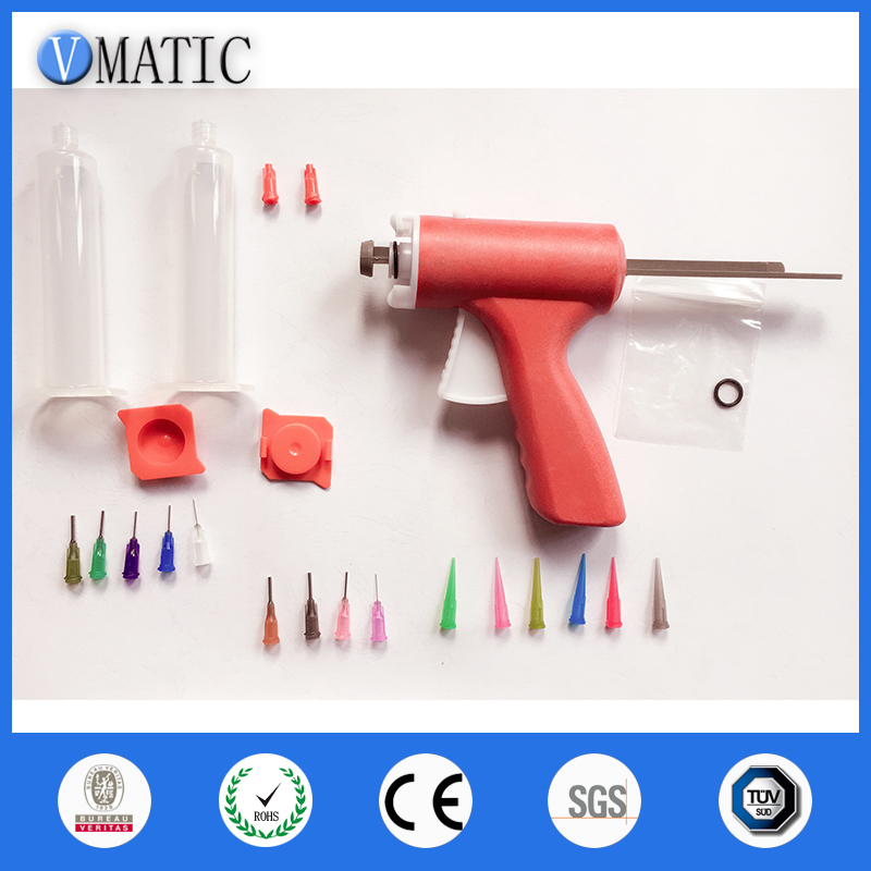 ФОТО Manually single liquid glue gun 10CC Common 1PCS + 10CC cones  + Dispensing Needle Tips + Syringe with Red cap and Red cover