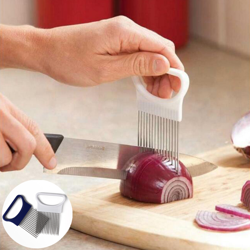 ZOPHIL Onion Slicers Kitchen font b Gadgets b font Handy Stainless Steel Holder Tomato Vegetable Cutter