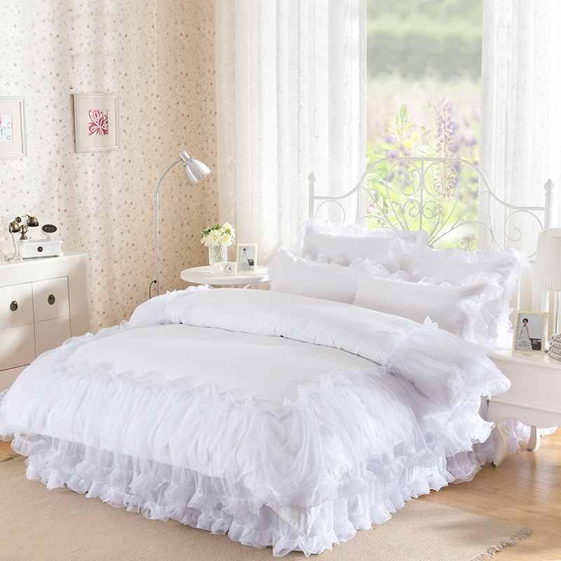 3 4pieces White Lace Bedspread Princess Solid Color