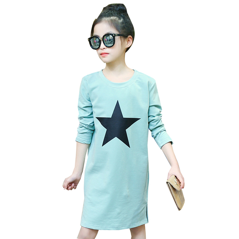 цены KIDS DRESSES FOR GIRLS T-SHIRTS LONG SLEEVE COTTON GIRLS DRESSES SPRING AUTUMN CHILDREN TEES 2 4 5 6 8 10 12 YEARS 2017 VESTIDOS