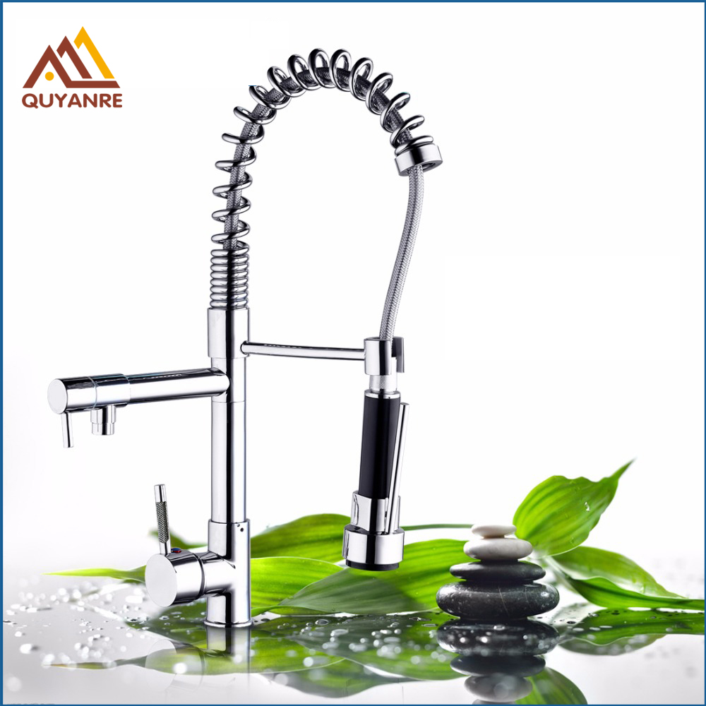 Chrome Black Brushed Nickel Dual Spout Spring Pull Down Kitchen Sink Mixer Water Cock Faucet with Hot and Cold Water Hose good quality wholesale and retail chrome finished pull out spring kitchen faucet swivel spout vessel sink mixer tap lk 9907