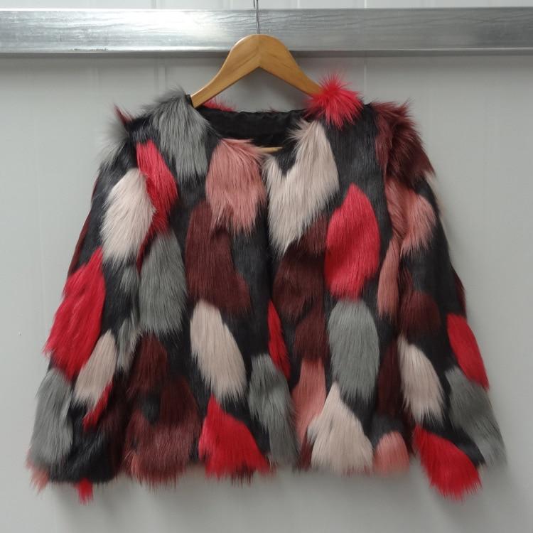 Women Mixed Color Man-Made Fur Jacket Casual Plus Size Faux Fur Coats Female Short Section Fur Outwear Casaco De Pele Falso Ck43 12