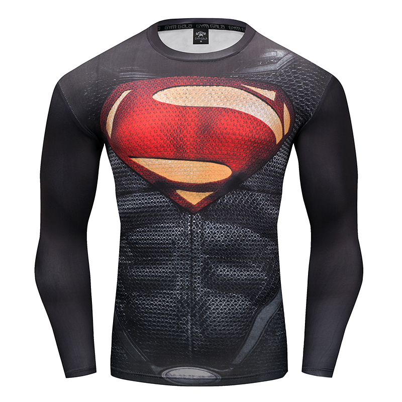 Gyms T-shirt Compressed shirt men's T-shirt 3D Superman Cosplay Branded men Clothing Elasticity Round neck Fitness T-shirt S-4XL