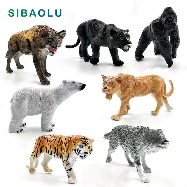 Chimpanzé tigre Lion noir léopard ours polaire loup hyène panthère Animal modèle figurine décor maison décoration accessoires moderne