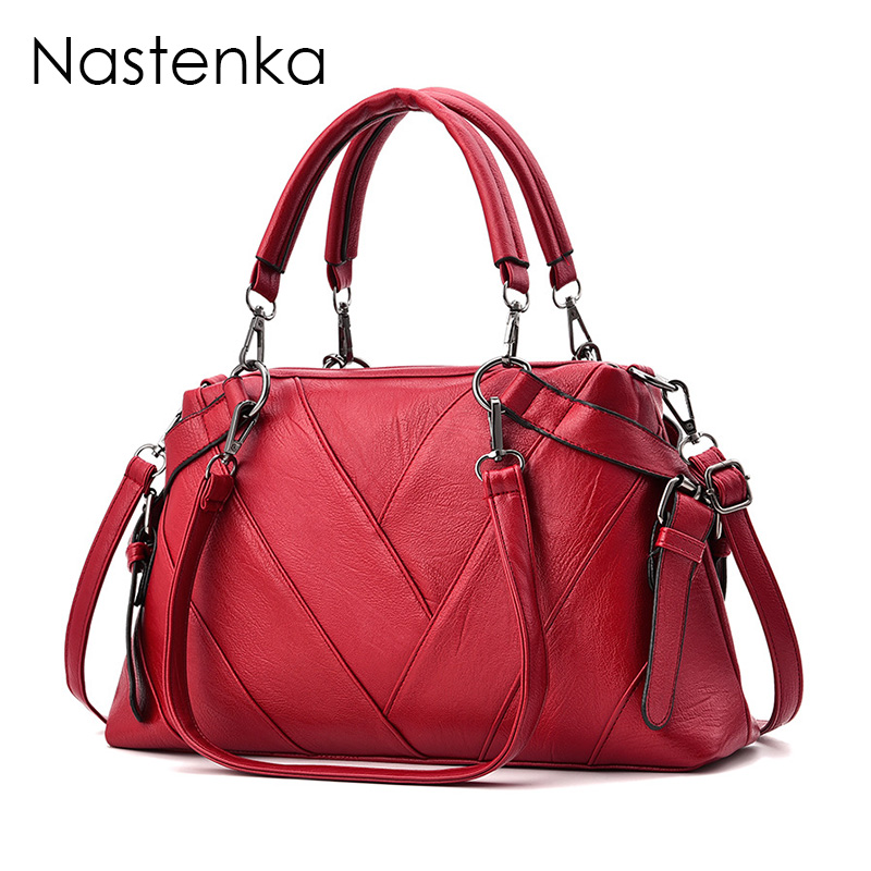 Nastenka 2018 Women Luxury Leather Bags Top-Handle Handbags Shoulder Bags Sac femme Women Tote Bag Designer Ladies Handbag Bolsa nastenka ladies shoulder crossbody bags for women leather mini messenger bag luxury handbags women bags designer bolsa feminina