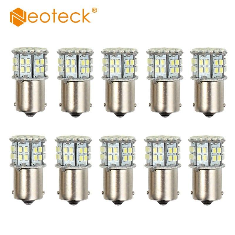 Neoteck 10Pcs Led Light Bulbs Lampdas 50 Leds Cool White DC 12V 3W Light Bulb Globe Lamp 1156 Brake Reverse Light Bulbs