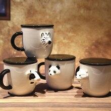 3D Kreative Keramik Cartoon Becher von Schwarz und Weiß Tier Schönes Paar Becher Frühstück Milch Becher