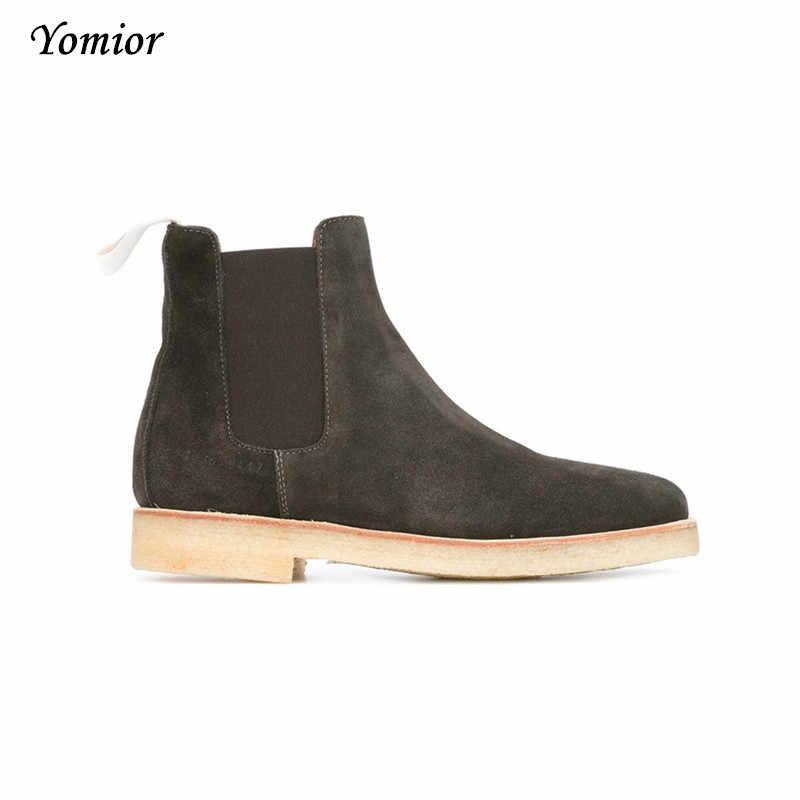 Fait à la main de luxe marque en cuir de vache automne hiver hommes bottes mode bout pointu mariage Chelsea bottes Vintage moto bottes
