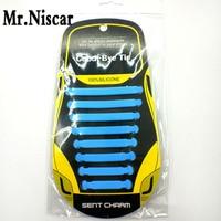 Mr Niscar 1 Set 16 Pcs Orange Adult Unisex Athletic Running No Tie Shoelaces Elastic Silicone
