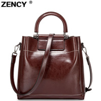 ZENCY Vintage Genuine Oil Wax Cow Leather Women's Handbag Shoulder/Messenger Cowhide Shopping Handle Bags Satchel