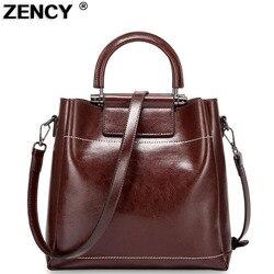 Zency vintage genuíno cera de óleo vaca couro bolsa ombro/mensageiro do couro sacos compras alça mochila