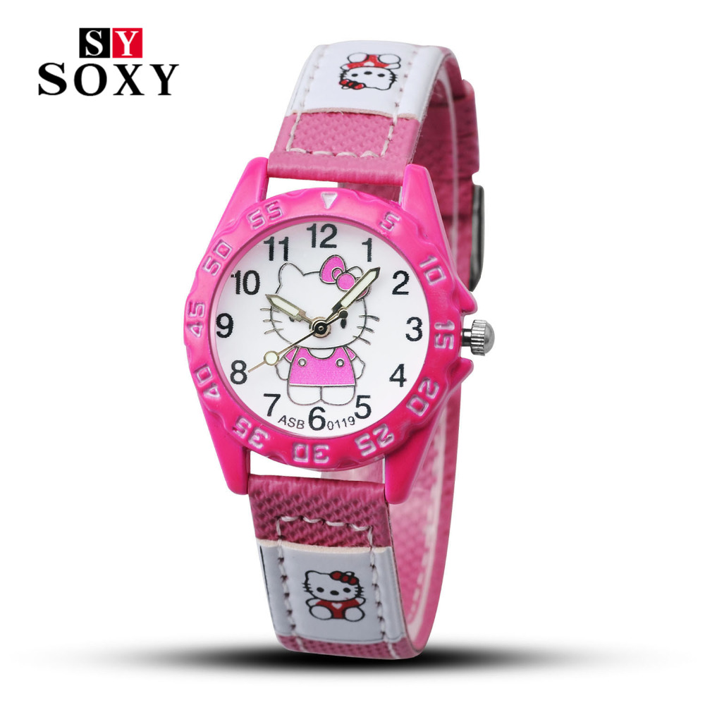 цена на Child hello kitty watch 3 colors leather strap cartoon watch kid relojes new design fashion quartz wristwatch female feminino