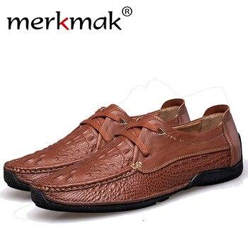 De Hombre Casual Merkmak Zapatos Cuero Mocasines Genuino